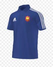 FRANCE FFR Mens Blue Adidas Short Sleeve Rubgy Polo Shirt XL BNWT