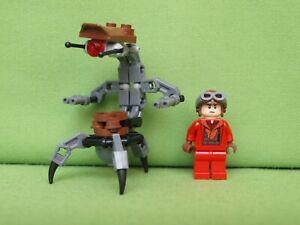 Lego Star Wars x2 Figur Droidika Kampf Droid, Naboo Fighter Pilot 7877 9674