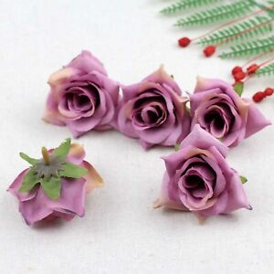Fake Rose Artificial Silk Flower Heads Craft Wedding Decor 20-100Pcs(Plum)