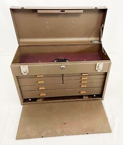Kennedy 520 Tool Box Machinist Chest 7 Drawer / Felt Lining Model 520 W/ Keys
