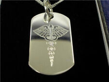 Silver Medical Alert Necklace Diabetic, Heart condition Warfarin Free engraving