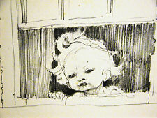 J.H. Dowd LITTLE GIRL w CURLY HAIR at Window 1938 Vintage Child Print Matted