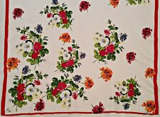 VINTAGE AUTHENTIC KENZO LOGO SUMMER FLOWERS RED GREEN COTTON LONG WOMEN'S SCARF