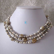 "Wave Freshwater Pearl Necklace 46"" 4-7mm White Gray"