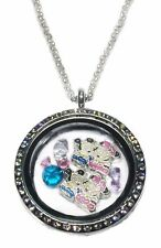Mickey & Minnie Mouse Round Crystal Floating Charms Locket Necklace