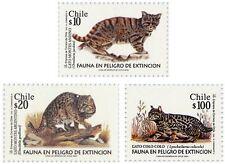 Chile 2001 #2055-2057 Fauna en Peligro de Extincion - Cat MNH