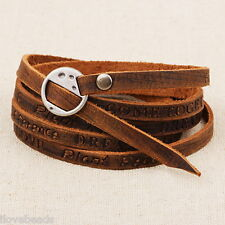 Womens Fashion Brown Mutilayer Metal Buckle Leather Bracelet Bangle Wristband
