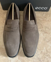 ECCO Size EU 48 Suede Queenstown Penny Loafers Slip On Dress Shoes Dark Clay New
