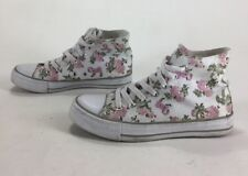 Womens Mywear High Top Shoes Floral Flowers White Size 6.5
