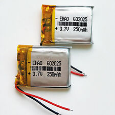 2 pcs 250mAh 3.7V Rechargeable lipo Battery For MP3 MP4 Smart watch GPS 602025