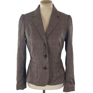 Banana Republic Womans Blazer Size 6 Plaid Career Brown Wool Blend