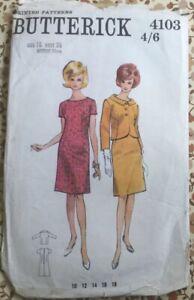 Vtg 60s Butterick Semi Fitted Slightly A Line Dress & Jacket Size 16 Bust 36