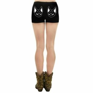 Too Fast Clothing Witchy Black Cat Hades Hot Shorts Goth Tattoo Festival
