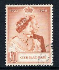 More details for gibraltar kgvi  1948 silver wedding £1 brown orange sg135 used