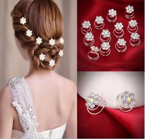 12pcs Wedding Diamante Crystal Spirals Pearl Flower Hair Twists Swirls Pins
