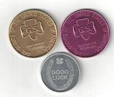 1967 1968 GIRL SCOUTS OF AMERICA GSA GS GOOD LUCK COINS TOKENS MEDALLION LOT