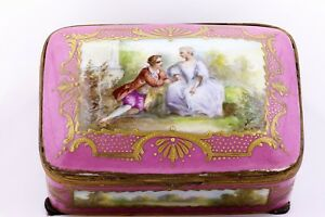 Hand Painted Antique French Porcelain Caen Jewelry Casket