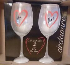 Circleware Mr. and Mrs. Wine Goblets Glass Set 15.7 oz