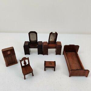 LOT of 6 Pieces STROMBECKER Walnut Doll DOLLHOUSE Furniture Strombecker