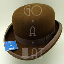 Classic Wool Felt Men Bowler Top Hat Derby Women Hard Crown Royal | 61cm | Brown