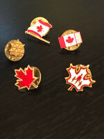 Vintage Collectible Canadian 5 Flag Colorful Metal Pinback Lapel Pin Hat Pins