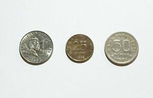 Philippines 1 Piso Coin 1997 and 25 Sentimo 1996; Indonesia 50 Rupiah 1971