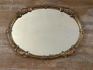 "22 x 29"" Vintage Mirror oval Gold Hollywood Regency antique Gilt frame wall"