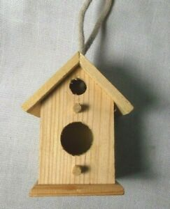 Wood Small Birdhouse Double Hole with Rope Hanger Unfinished Woodline Works
