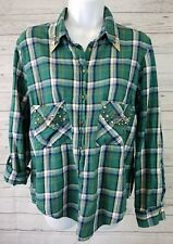 Zara Womens Shirt Sz Large Green Plaid Long Sleeve Snap Closure Studded