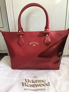 VIVIENNE WESTWOOD ANGLOMANIA RED GOLD ORB LIVERPOOL TOTE SHOULDER LARGE BAG NEW