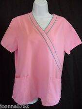 SB Scrubs Size Small Scrub Top Short Sleeve Pullover Pink Blue Trim