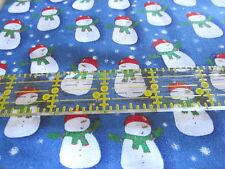 Christmas Spirit blue cotton fabric snowman toss lightweight Joanns BTHY 1/2 cut