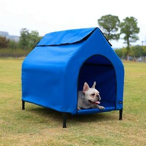 Amazon Basics Elevated Portable Pet House Blue Small (Pack of 1) New