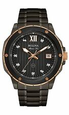Bulova Men's Marine Star 98D128 Quartz Diamond Accents Grey Bracelet 47mm Watch