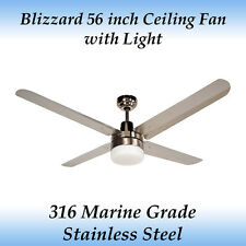 Blizzard 56 Inch Marine Grade Stainless Steel Outdoor Ceiling Fan With Light