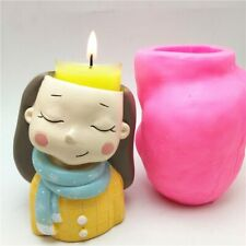 3D Beautiful Girl Flower Plant Pot Silicone Mold Baking Mold Resin Candle Tool