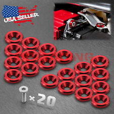 20pcs Red Billet Aluminum Fender Bumper Washer Bolt Engine Bay Screw Kit JDM