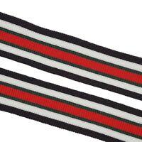 Striped Stretchy Gucci Style Trim Ribbon, Black White Red Green Colorful Trim