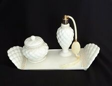 Avon China Beige Dresser Vanity Set - Tray, Covered Bowl, Perfume Atomizer