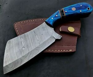 Handmade Axe Damascus Steel Viking Axe-Camping-Outdoors-Leather Sheath-MD155