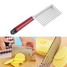 Stainless Steel Potato Chip Vegetable Fruit Crinkle Cutter Slicer Wavy Knife NEW