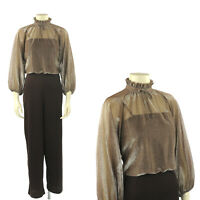 Vintage 70s Brown + Metallic Sheer High Ruffle Collar Blouson Disco Jumpsuit S