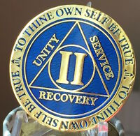 2 Year AA Medallion Blue Gold Plated Alcoholics Anonymous Sobriety Chip Coin Two