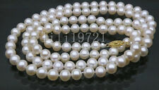 "Genuine 50"" 7-7.5mm AAA white akoya round pearls necklace 14k yellow gold"