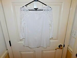 Express Women's 3/4 Sleeve White Blouse With Lace Panels Size XS