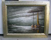 Seascape Oil Painting Art Listed Artist E. Neuhold Signed Boats on Moonlight Sea