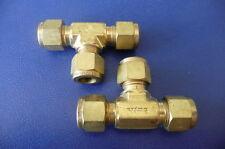 "Two New Swagelok Brass Union Tee B-600-3   3/8"" Tube x 3/8"" Tube x 3/8"" Tube"