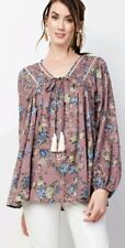 Easel Anthropologie Boho Peasant Blouse Top Mauve Floral S Small