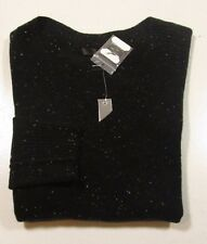 Aqua Women's V-Neck Black Donegal Cashmere Fitted Speckled Sweater $158