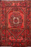 Vintage Geometric Malayer Area Rug Wool Handmade Traditional Oriental Carpet 5x6